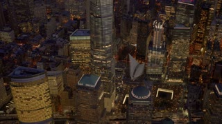 overlooking 9-11 world trade center memorial at night. Shot on Red Epic