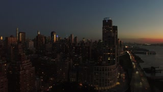 overlooking city business district. skyline cityscape landmarks. shot on red epic