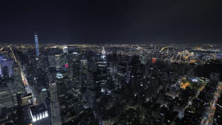 overlooking city panorama at night. urban night lights. metropolis urban style