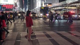 pedestrians crossing street at penn station new york. Shot on Red Epic
