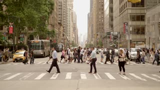 people going home after work at rush hour time in new york city
