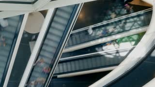 people person crowd customers. escalator staircases stairways stairs. shopping
