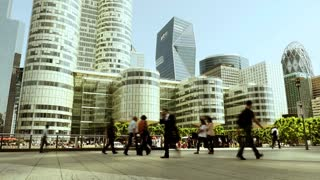 people walking in the city. modern skyline architecture. business  buildings