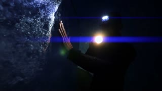 person using flashlight to discover ice glacier cave. adventure background