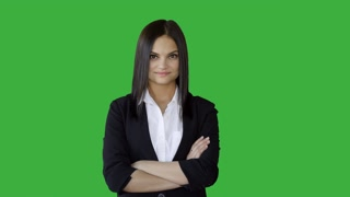 portrait of young attractive women in business suit isolated on green-screen