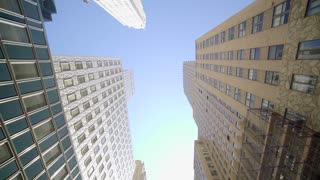 POV view of skyscraper buildings in the city. modern financial business district