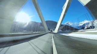 road street. driving car. onboard view. modern bridge. transportation