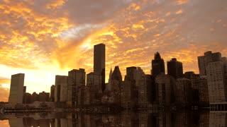 skyline silhouette cityscape background at sunset sky. city urban scene