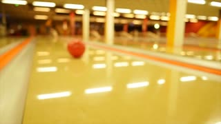slow motion of rolling bowling ball - bowling alley - hobby sports - activity