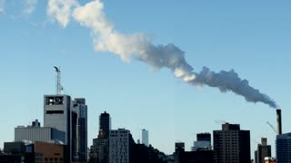 smog pollution background. urban city environment. steam smoke