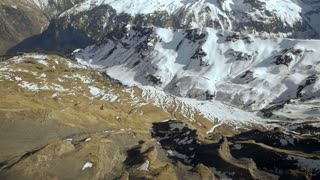 snowcapped mountain panorama. snow melting. alps glaciers