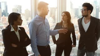 start up company employees discussing business strategy target in modern office