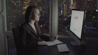 successful business women working on computer desk analyzing financial profits