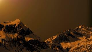 sunset mountain panorama view. time lapse