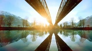 sunset panorama. modern futuristic architecture. lake water reflection