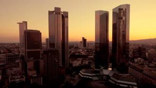 sunset skyline skyscrapers. urban cityscape. real estate