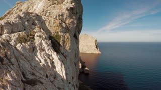tall stone rocks coastal aerial view. epic landscape scenery