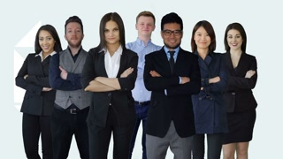 team of multi ethnic people standing together in a group. business professionals