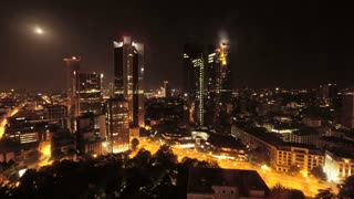 time lapse of city at night. skyline skyscrapers. urban cityscape. real estate