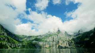 time lapse of nature resort landscape - clouds cloudscape - water lake