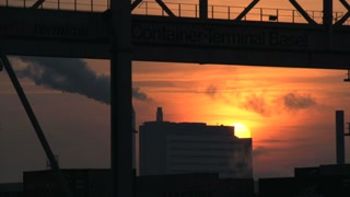 time lapse. pollution smoke smog dirty. sunset evening sky. industrial industry