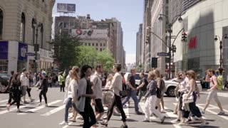 tourists exploring new york city. shopping business district