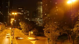 traffic lights. modern buildings. urban background. time lapse of city at night