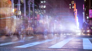traffic night scene in new york city. people commuting background