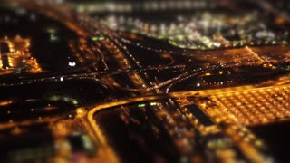 traffic road aerial view at night