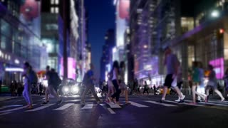 urban city life scene of people crossing street