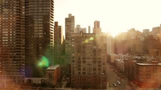 urban city lifestyle background. sun flare sunset magic hour. nyc metropolis