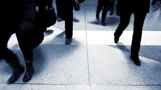 urban lifestyle people walking in the city. business commuters in modern financial district