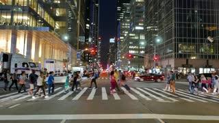 urban metropolis lifestyle scenery. people crossing street