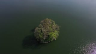 Aerial view of lake island in beautiful nature at day