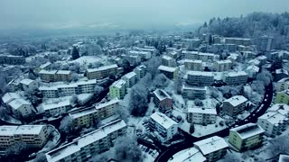Aerial View of Snow Coverred Urban Village Homes District