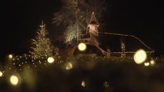 Beautifully illuminated church with Christmas decoration