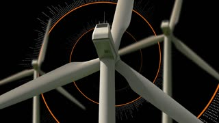 Clean energy wind turbines with animated helix in the black background