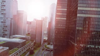 economy growth concept background of modern city business district