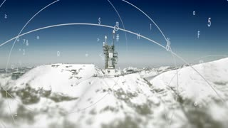 Global connected information animation with winter broadcast antenna background
