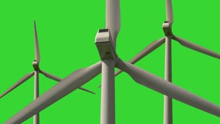 Rotating wind turbine with green screen background