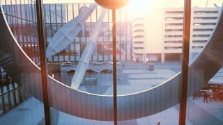 time lapse of public watch clock moving fast. city business district scene