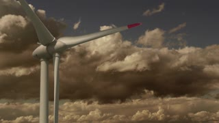 Wind Turbine Producing Power in Stormy Wind Clouds Weather