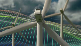 Wind turbines with clouds and wave animation background