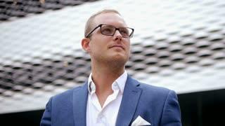 young sales man representing successful entrepreneur finance business career