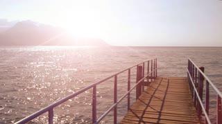 way of life. panorama view. sunshine magic hour. water surface