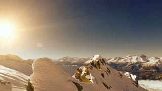 winter landscape. snow mountains. aerial view. fly over