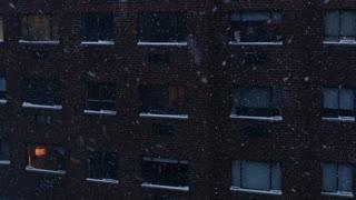 winter snow season weather background. urban city scenery
