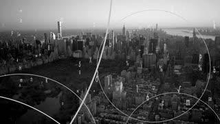 wireless communication data stream. cityscape skyline background