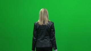 women holding hands up isolated green screen