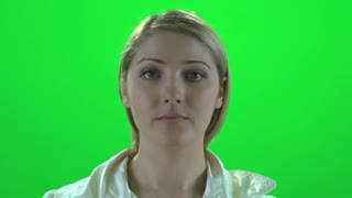 women portrait face close up isolated green screen
